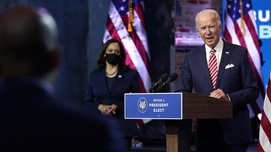 President-elect Joe Biden, accompanied by Vice President-elect Kamala Harris, speaks about economic recovery at The Queen…