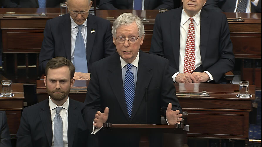 In this image from video, Senate Majority Leader Mitch McConnell, R-Ky., speaks on the Senate floor about the impeachment trial…