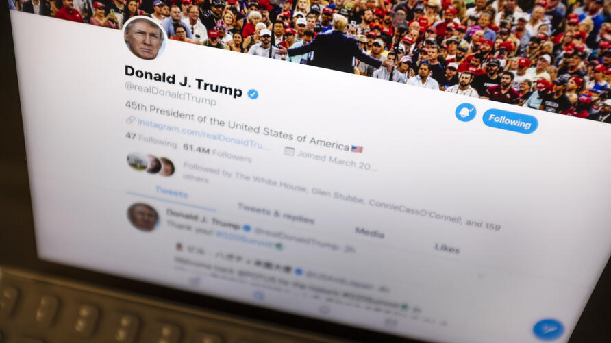 FILE - This June ۲۷, ۲۰۱۹, file photo President Donald Trump's Twitter feed is photographed on an Apple iPad in New York. …