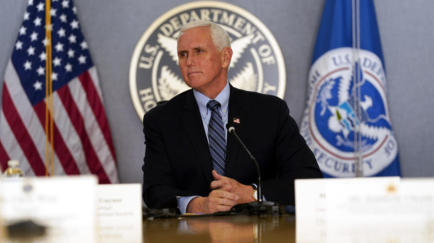 Vice President Mike Pence listens during a briefing about the upcoming presidential inauguration of President-elect Joe Biden…