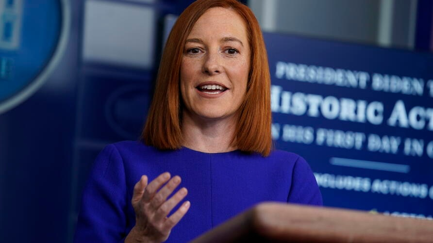 White House press secretary Jen Psaki speaks during a press briefing at the White House, Wednesday, Jan. 20, 2021, in…