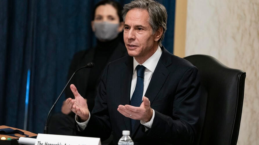 Secretary of State nominee Antony Blinken testifies during his confirmation hearing to be Secretary of State before the Senate…