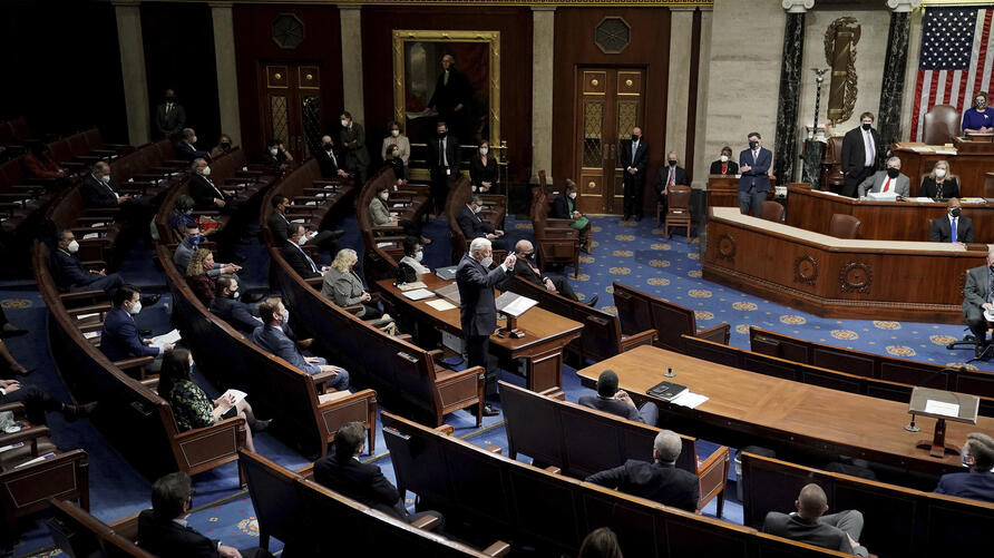 House Majority Leader Steny Hoyer, D-Md., speaks in the House Chamber after they reconvened for arguments over the objection of…