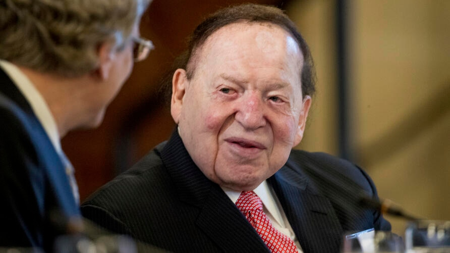 FILE - This Feb. 10, 2017 file photo, Chief Executive of Las Vegas Sands Corporation Sheldon Adelson shows at a business…