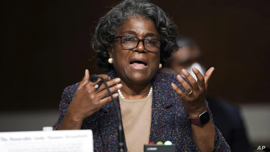 United States Ambassador to the United Nations nominee Linda Thomas-Greenfield testifies during for her confirmation hearing…