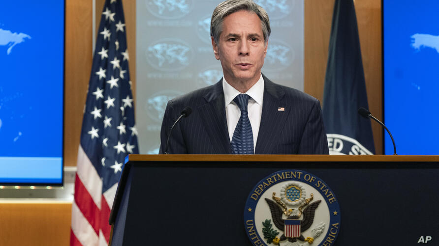 Secretary of State Antony Blinken speaks during a news conference at the State Department in Washington, Friday, Feb. 26, 2021…
