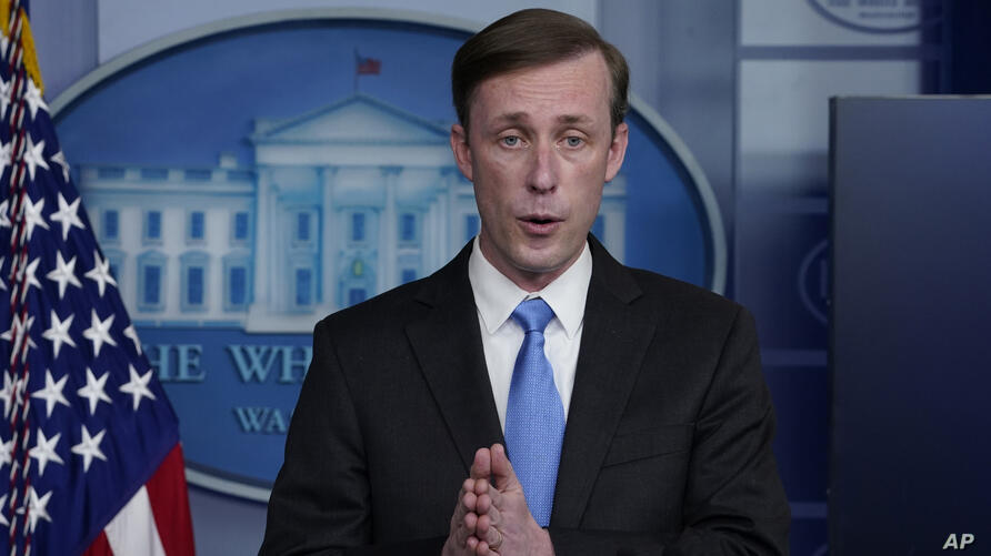 National security adviser Jake Sullivan speaks during a press briefing at the White House, Thursday, Feb. 4, 2021, in…