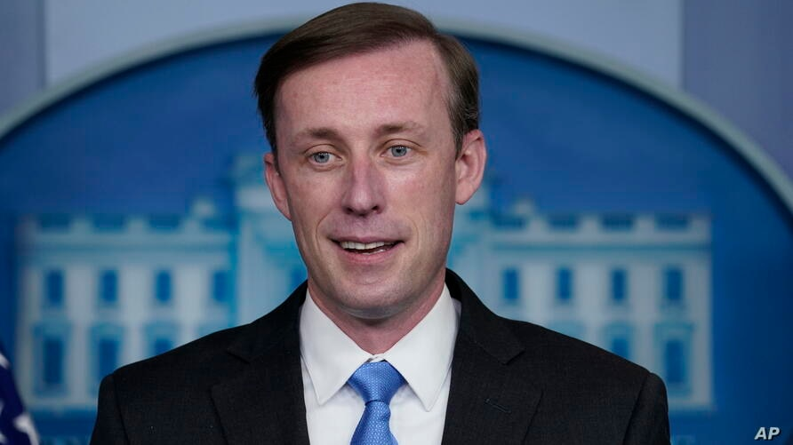 National security adviser Jake Sullivan speaks during a press briefing at the White House, Thursday, Feb. ۴, ۲۰۲۱, in…