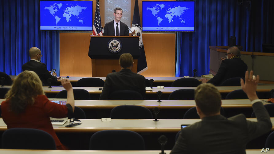 State Department spokesman Ned Price speaks during a press briefing at the State Department in Washington, DC, on February 9,…