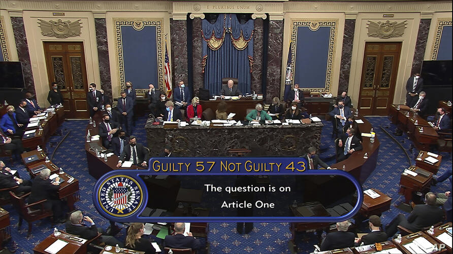In this image from video, the final vote total of 57-43, to acquit former President Donald Trump of the impeachment charge,…