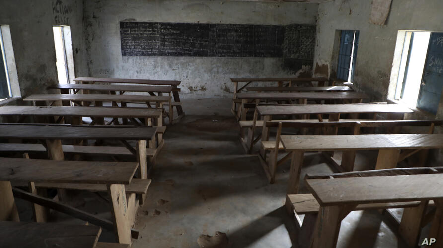 An empty class room following an attack by gunmen at Government Science College, Kagara, Nigeria, Thursday, Feb. 18, 2021…