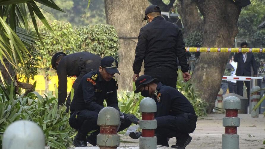 National Security Guard soldiers inspect the site of a blast near the Israeli Embassy in New Delhi, India, Saturday, Jan. 30,…