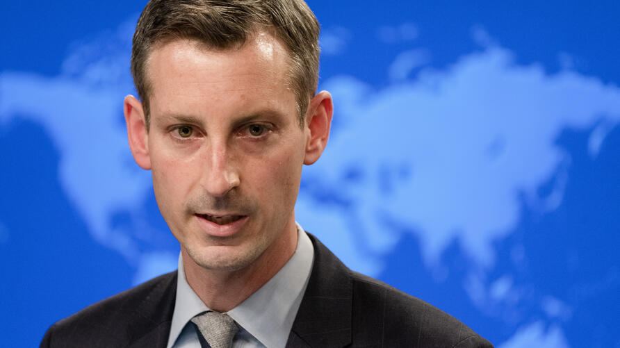State Dept. Spokesman Ned Price speaks during a news briefing, Wednesday, Feb. 3, 2021, at the State Dept. in Washington. (AP…