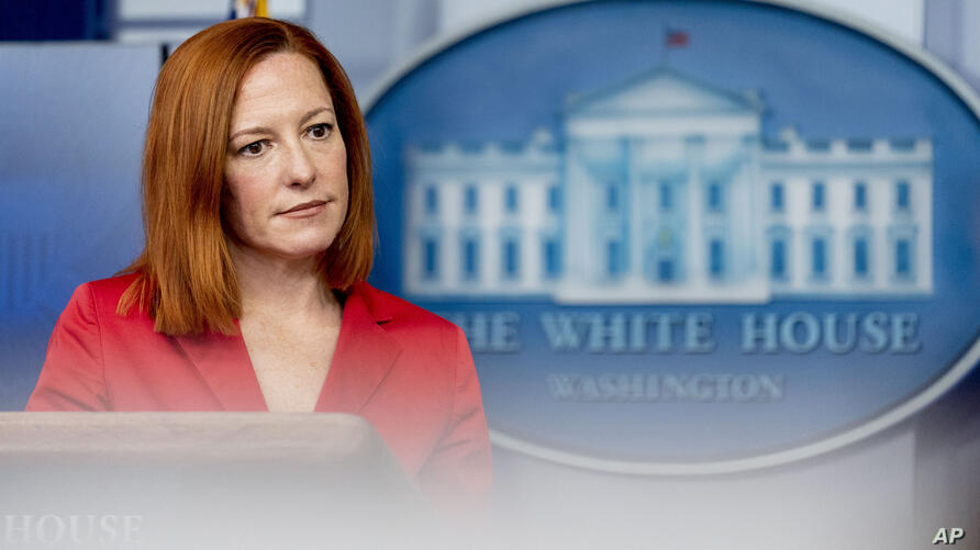 White House press secretary Jen Psaki takes a question from a reporter during a press briefing at the White House, Thursday,…