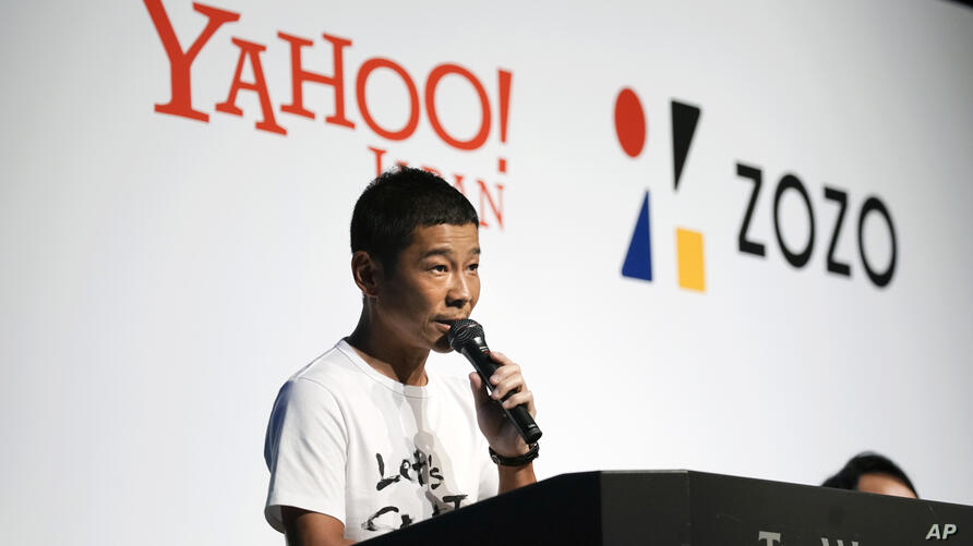 Zozo founder and Chief Executive Yusaku Maezawa speaks during a news conference Thursday, Sept. 12, 2019, in Tokyo. Yahoo Japan…