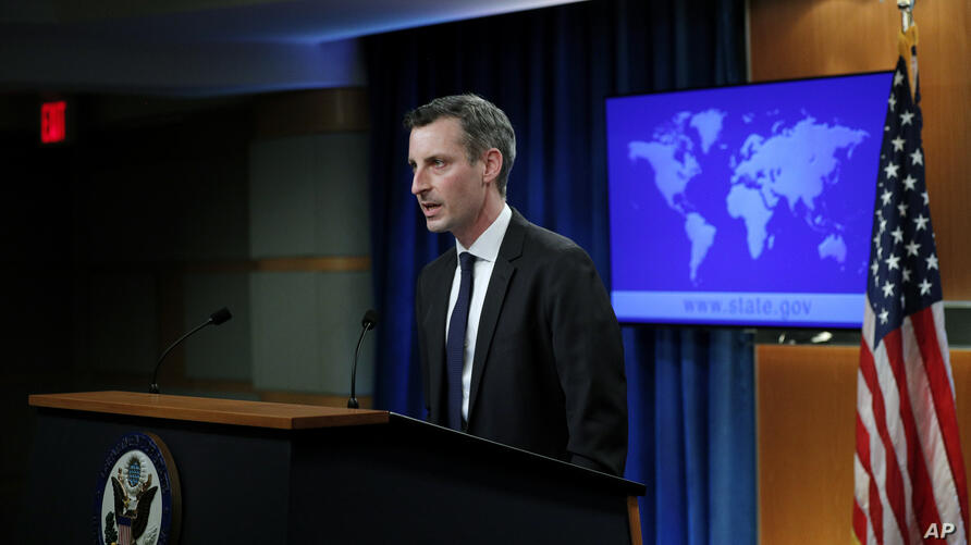 State Department Spokesman Ned Price speaks to reporters during a news briefing at the State Department in Washington, on…