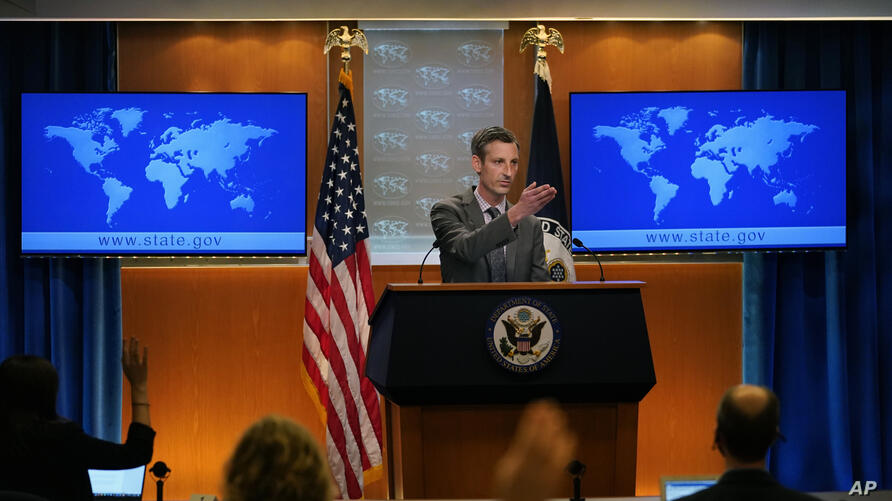 State Department spokesman Ned Price takes questions from reporters at the State Department in Washington, Wednesday, March 31,…
