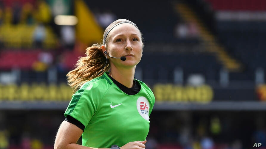 Assistant Referee Sian Massey-Ellis is pictured before the English Premier League soccer match between Watford and West Ham at…