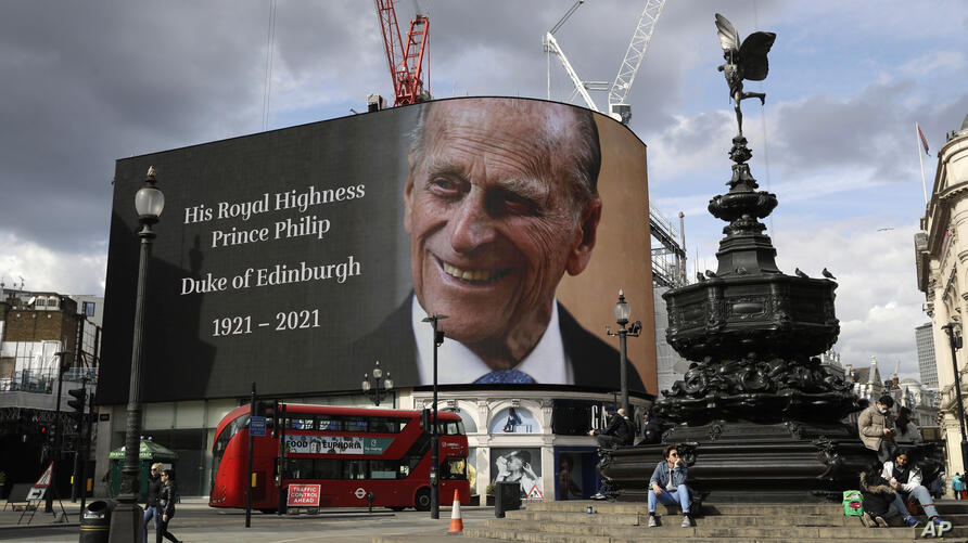 A tribute to Britain's Prince Philip is projected onto a large screen at Piccadilly Circus in London, Friday, April 9, 2021…