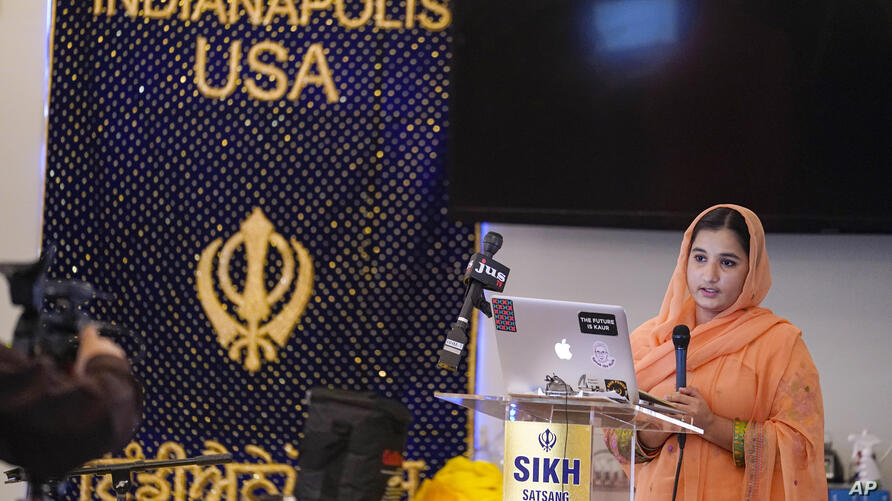 Aasees Kaur, legal client and community services manager of the Sikh Coalition reads a statement on the groups response after…