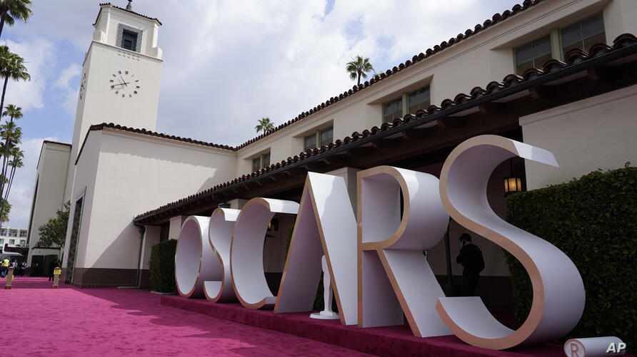 A view of the red carpet appears before the start of the Oscars on Sunday, April 25, 2021, at Union Station in Los Angeles. (AP…