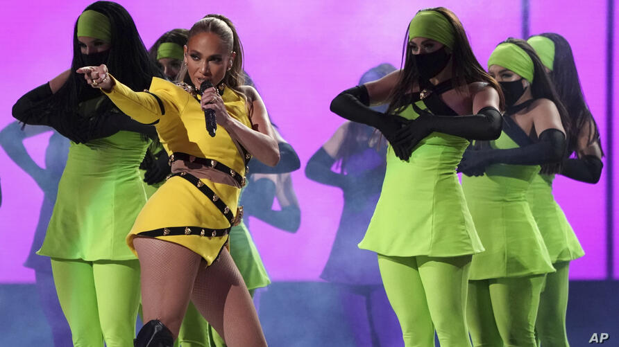 """Jennifer Lopez performs at """"Vax Live: The Concert to Reunite the World"""" on Sunday, May 2, 2021, at SoFi Stadium in Inglewood,…"""
