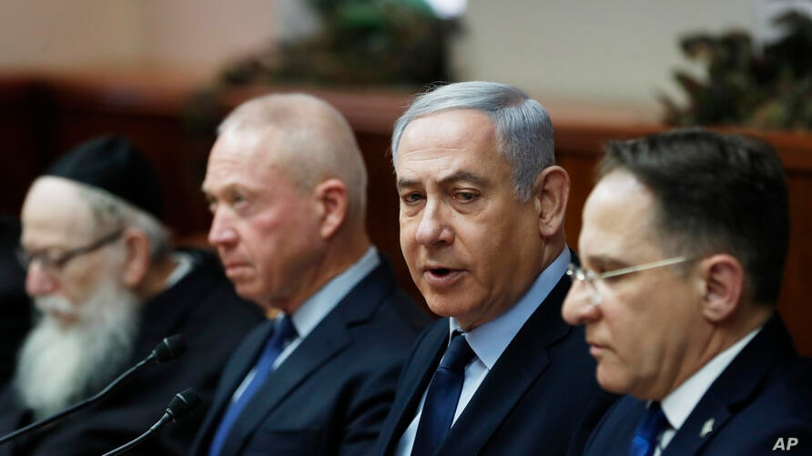 Israeli Prime Minister Benjamin Netanyahu, second right, chairs the weekly cabinet meeting, in Jerusalem, Sunday, Feb. 9, 2020…