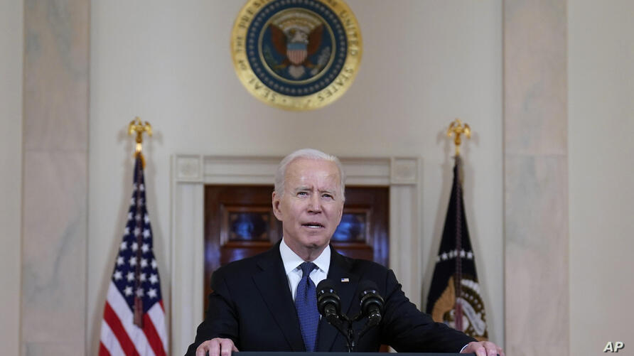 President Joe Biden speaks about a cease-fire between Israel and Hamas, in the Cross Hall of the White House, Thursday, May 20,…