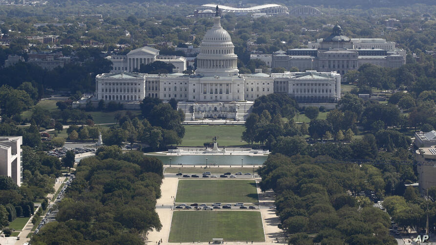 The U.S. Capitol building viewed from the Washington Monument, Wednesday, Sept. 18, 2019, in Washington. (AP Photo/Patrick…