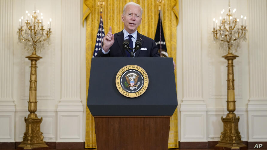 President Joe Biden speaks about the April jobs report in the East Room of the White House, Friday, May 7, 2021, in Washington…