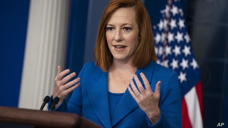 White House press secretary Jen Psaki speaks during a press briefing at the White House, Monday, May 24, 2021, in Washington. …