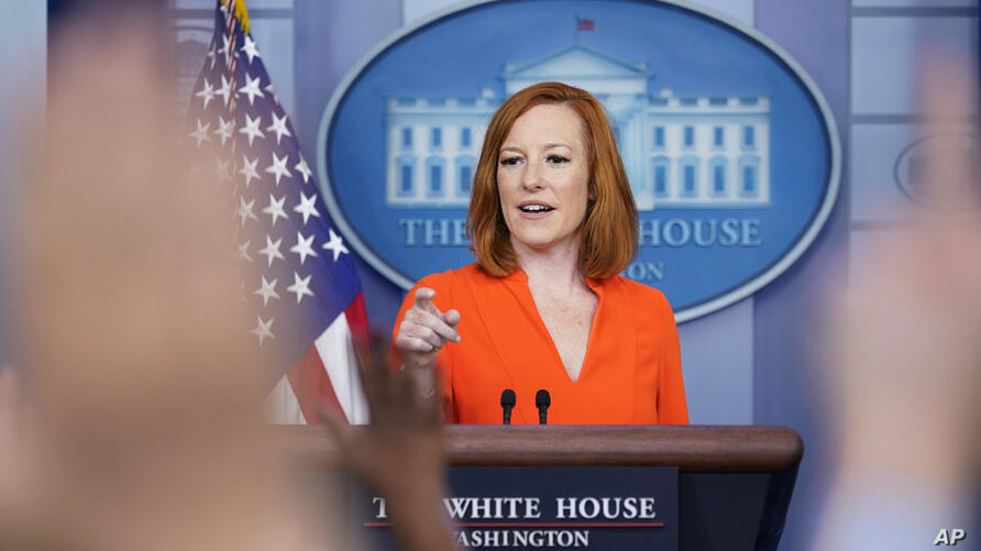 White House press secretary Jen Psaki speaks during the daily briefing at the White House in Washington, Monday, June 21, 2021…