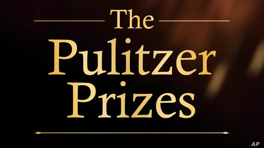 THE PULITZER PRIZES lettering, on texture, finished graphic