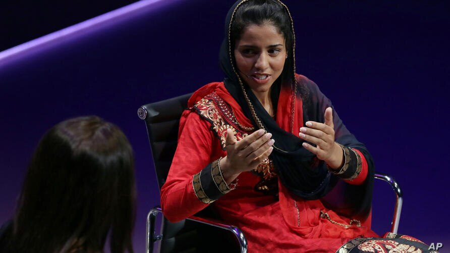 Afghan rapper Sonita Alizadeh speaks during the Women in the World Summit at Cadogan Hall in London, Friday Oct. 9, 2015. (AP…