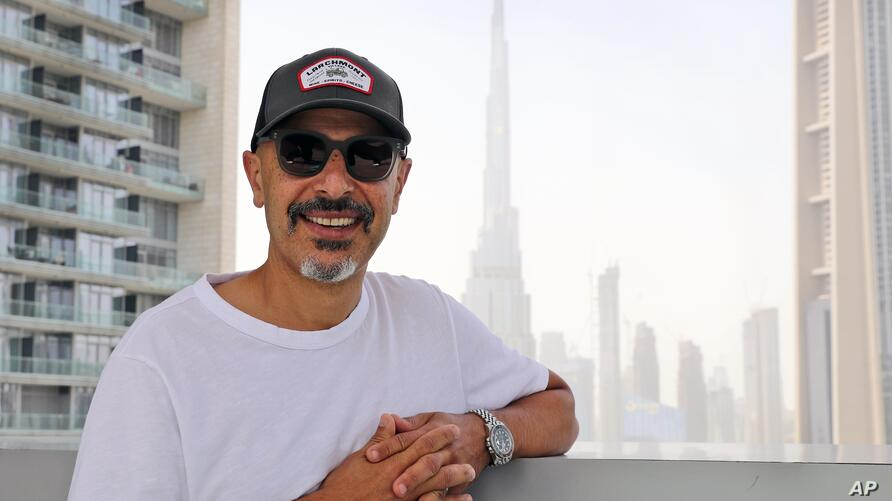 Stand-up comedian Maz Jobrani poses in Dubai, United Arab Emirates, Tuesday, May 25, 2021. For Iranian-American Maz Jobrani, a…