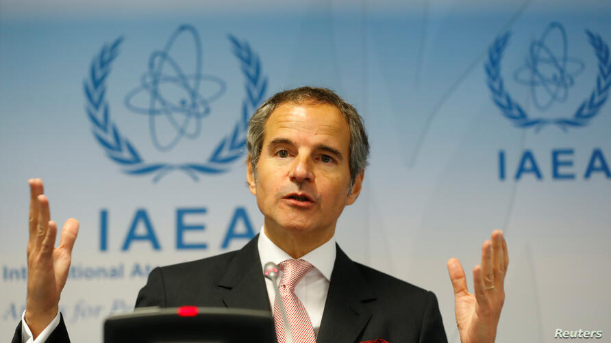 IAEA Director General Grossi addresses the media after a board of governors meeting at the IAEA headquarters in Vienna