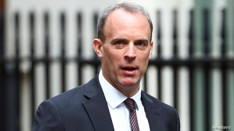 Britain's Foreign Secretary Dominic Raab at Downing Street ahead of a cabinet meeting in London