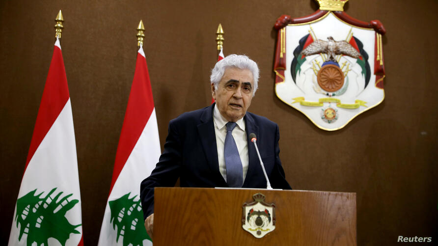 FILE PHOTO: Lebanese Foreign Minister Nassif Hitti speaks during a joint news conference with Jordanian Foreign Minister Ayman Safadi in Amman