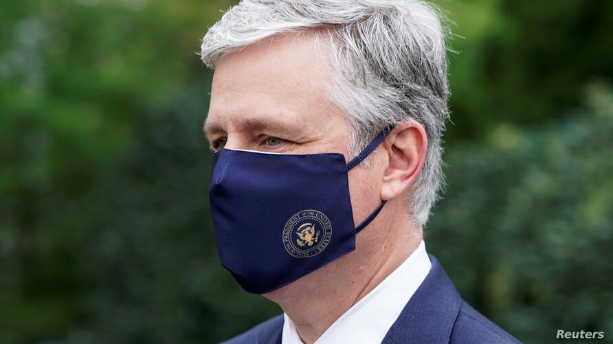 FILE PHOTO: National Security Advisor Robert O'Brien walks after being interviewed at the White House in Washington