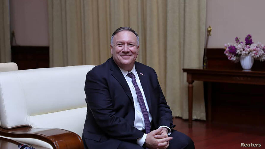 U.S. Secretary of State Mike Pompeo is seen during a meeting with Sudan's Sovereign Council Chief General Abdel Fattah al-Burhan in Khartoum