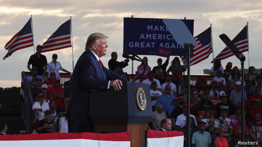 U.S. President Donald Trump holds a campaign event at Smith Reynolds Regional Airport in Winston-Salem