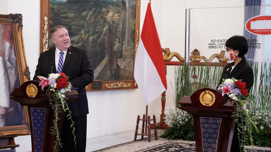 U.S. Secretary of State Mike Pompeo talks while making a joint media statement with Indonesian Foreign Minister Retno Marsudi following their meeting in Jakarta