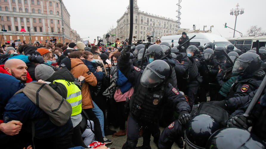 Navalny supporters protest his arrest, in Moscow