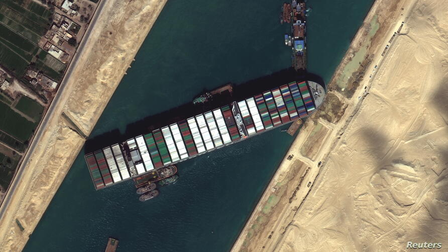 Ever Given container ship is pictured in Suez Canal, in Suez Canal