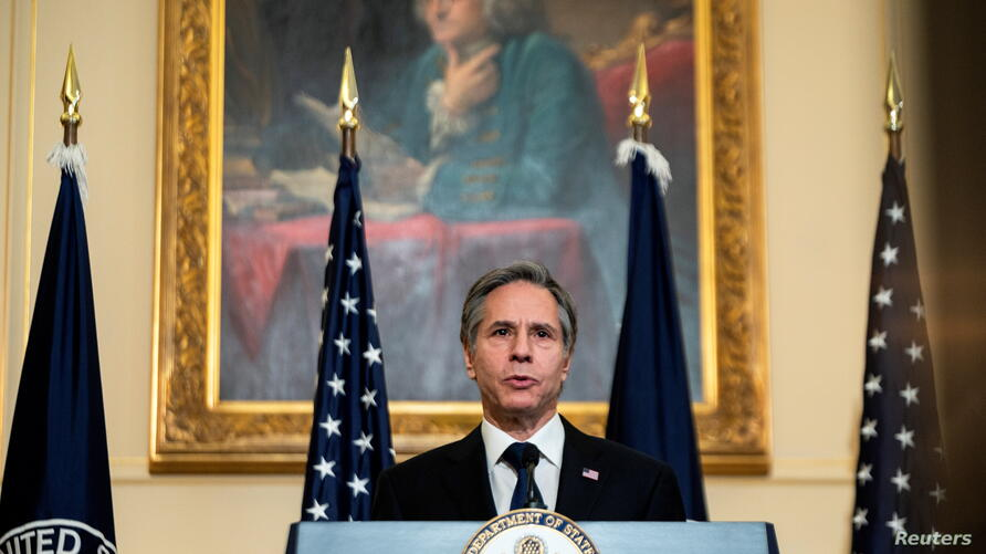U.S. Secretary of State Antony Blinken speaks at the State Department in Washington