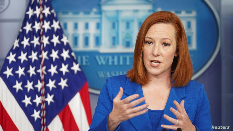 Jen Psaki speaks at a news briefing at the White House in Washington
