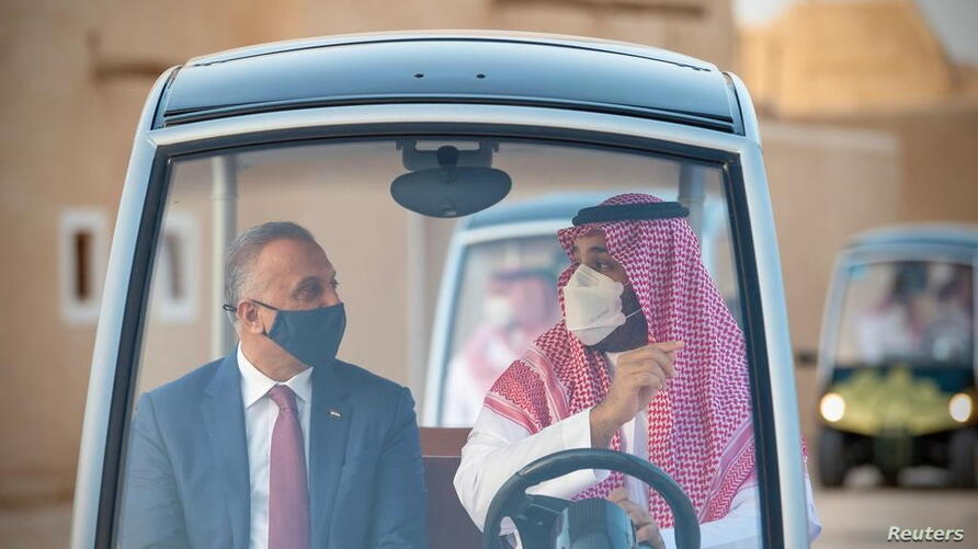 Saudi Arabia's Crown Prince Mohammed bin Salman and Iraqi Prime Minister Mustafa Al-Kadhimi, visit the historical city Ad Diriyah on the outskirts of Riyadh