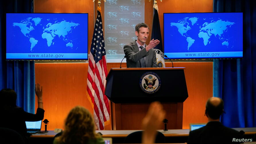 U.S. State Department spokesman Ned Price takes questions from reporters at the State Department in Washington