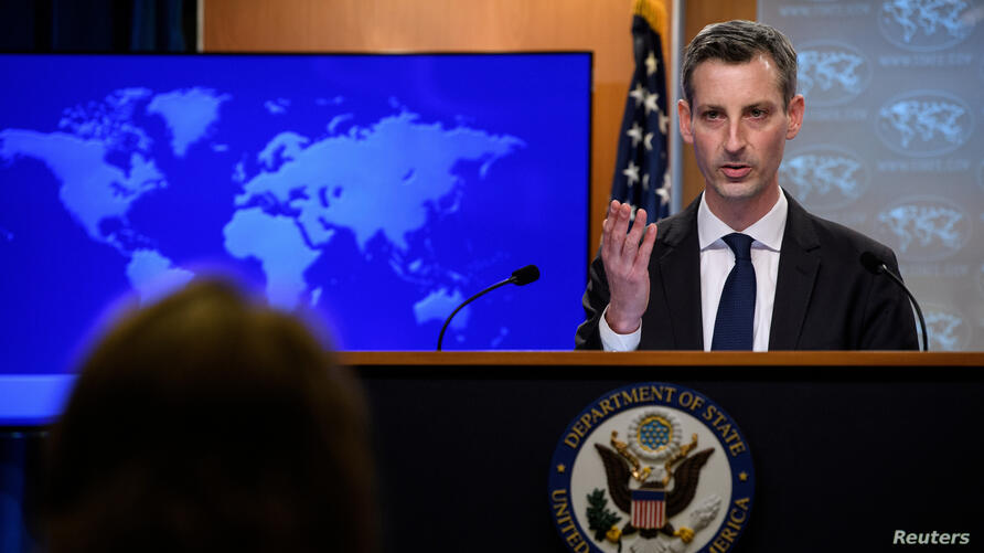 FILE PHOTO: U.S. State Department spokesman Ned Price speaks at his first daily press briefing at the State Department in Washington