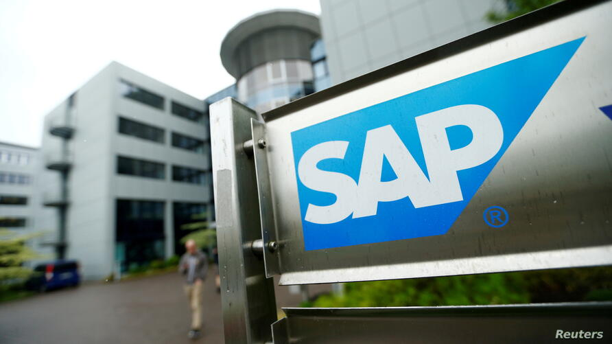 FILE PHOTO: The logo of German software group SAP is pictured at its headquarters in Walldorf